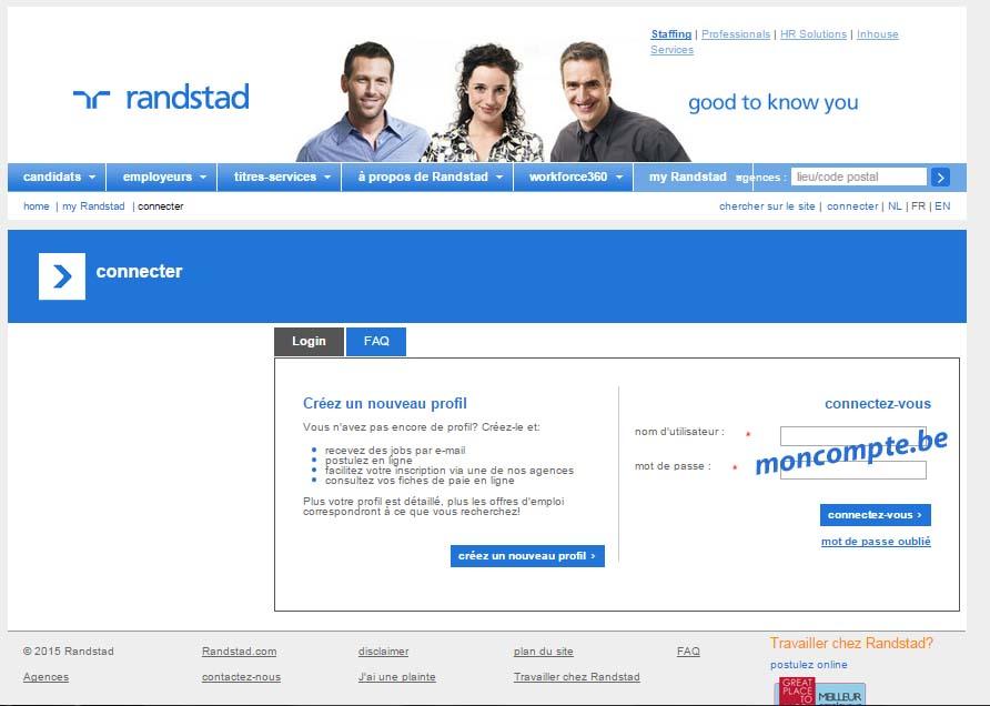 créer profil My Randstad belgique