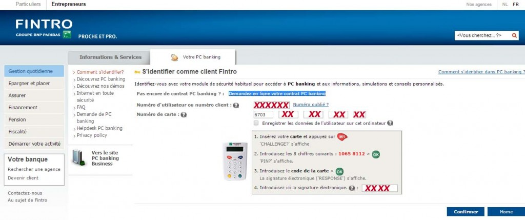 compte fintro PC banking