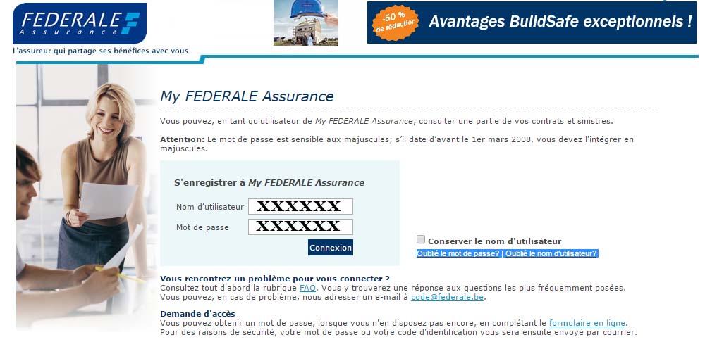 connexion compte assurance Fédéral Belgique