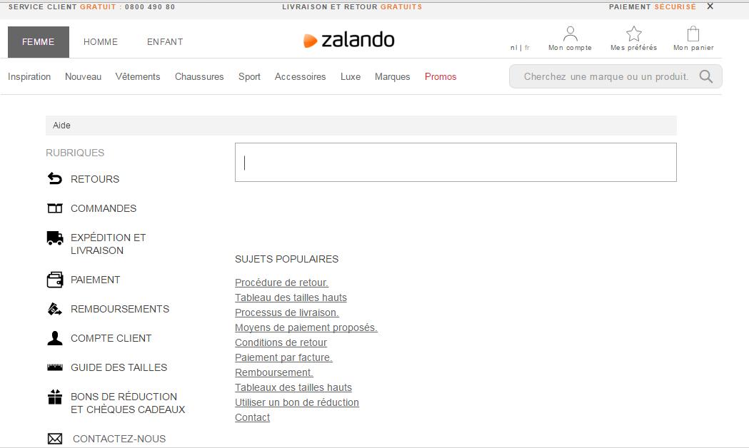 contact service client.zando.be
