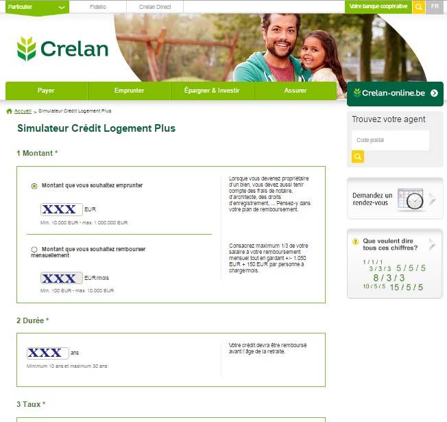Crelan Crédit hypothécaire simulation