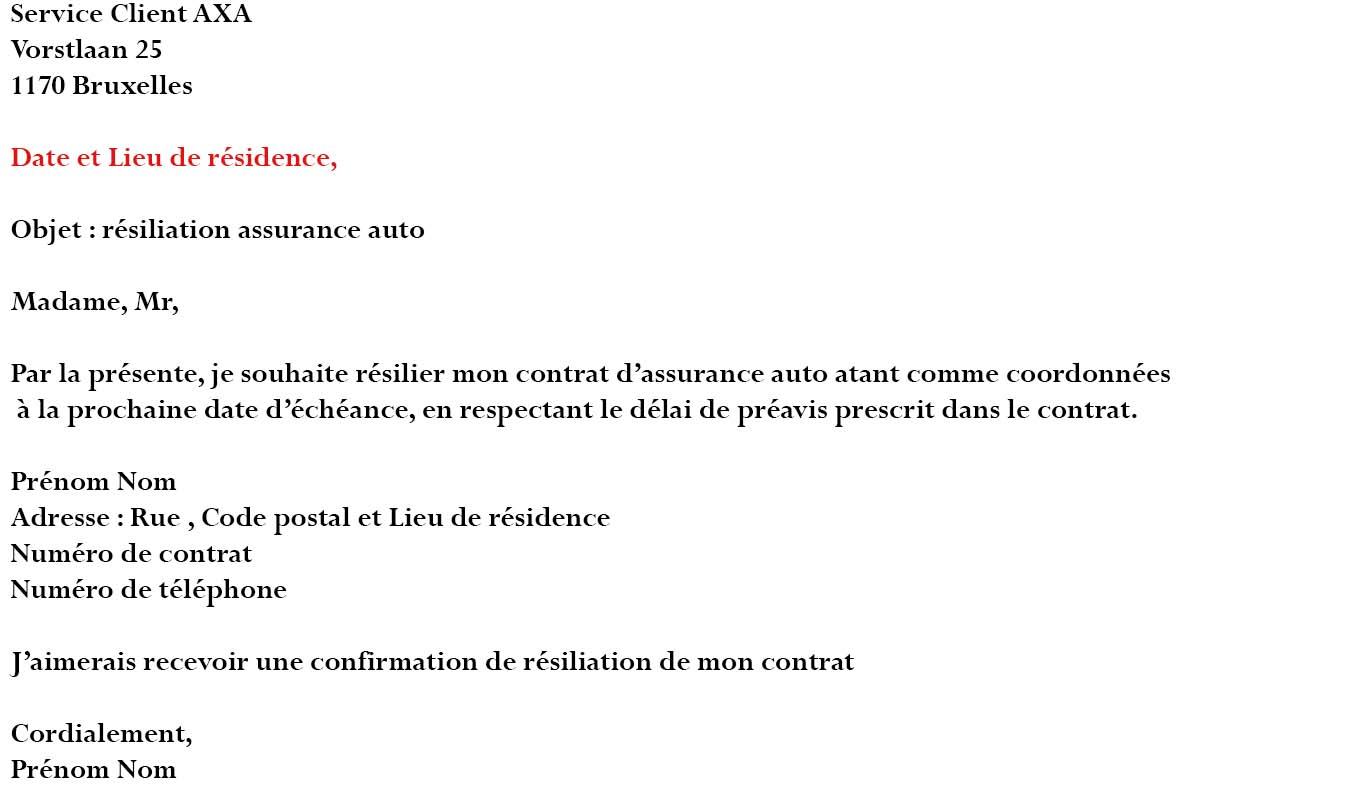 lettre résiliation assurance axa auto