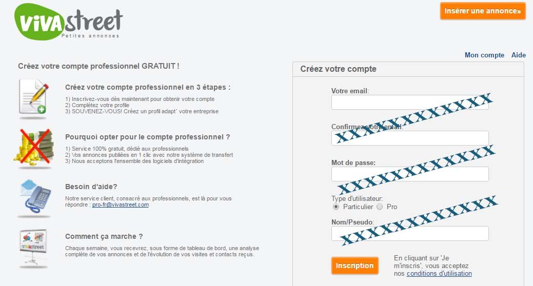 créer compte vivastreet Belgique