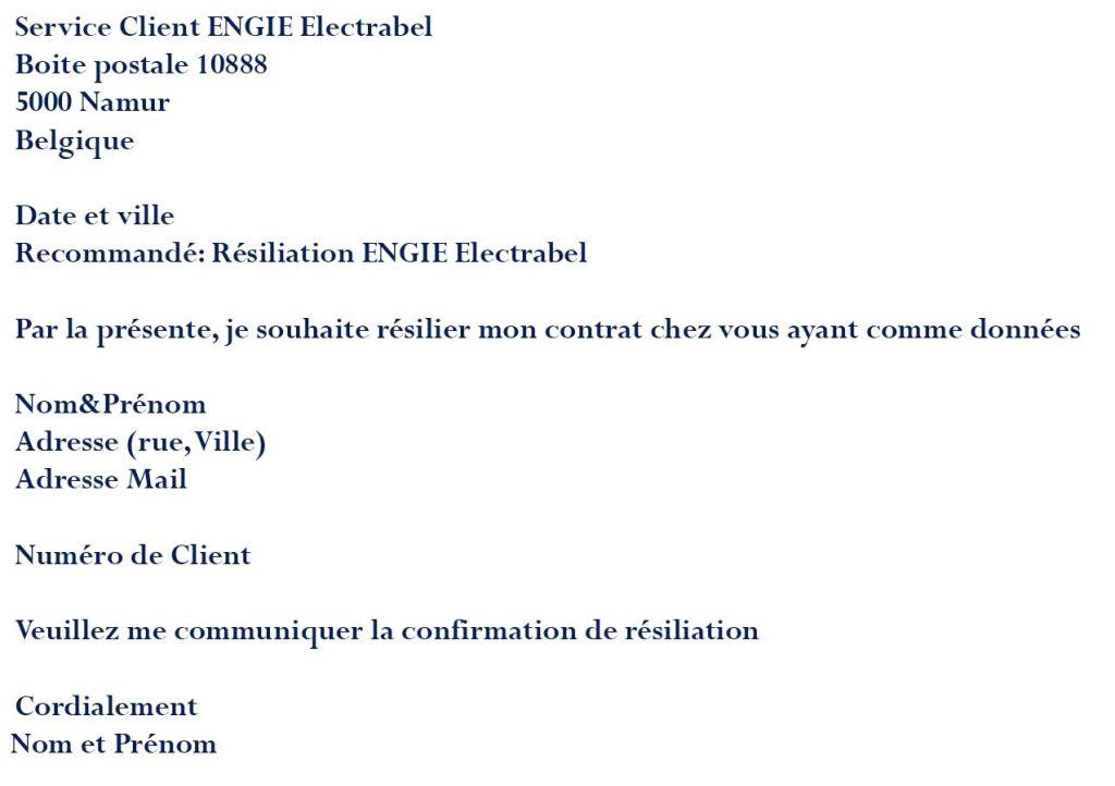 Résiliation ENGIE Electrabel