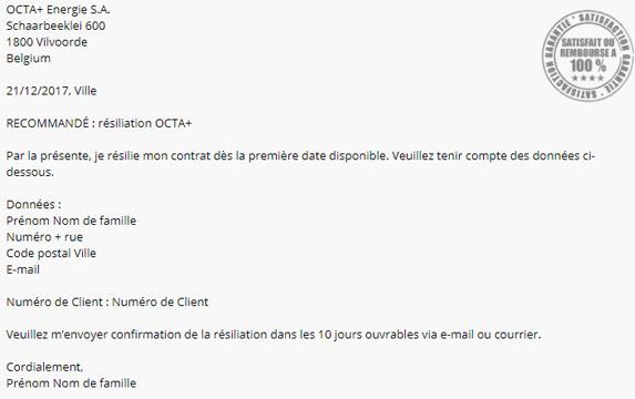 résilier contrat octa+ belgique