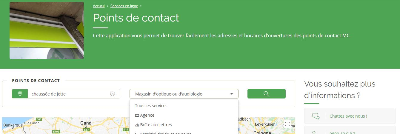 apllication de recherche des points de contacts
