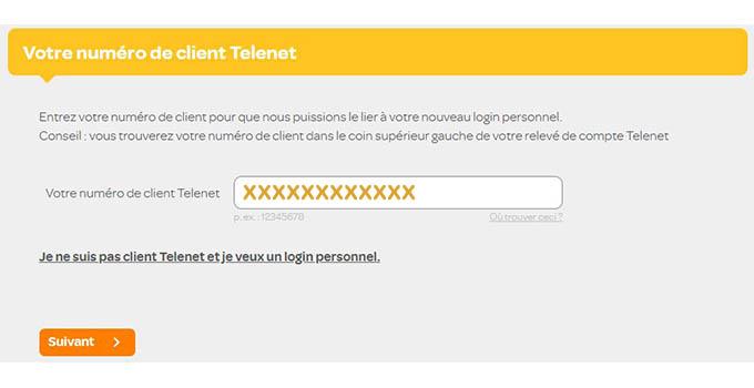 saisissez votre numéro de client telenet