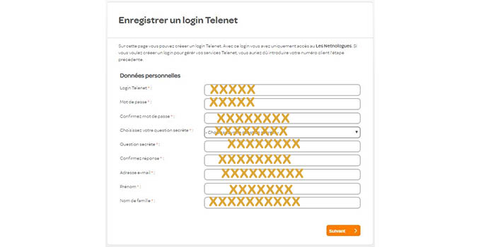 enregistrer un login telenet