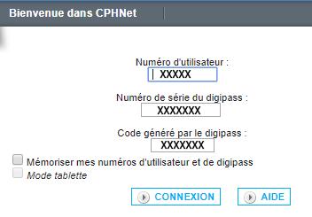 formulaire de connexion à cphnet