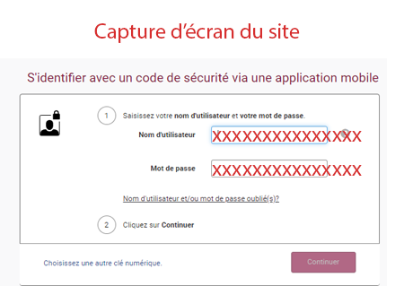 Accès avec un code unique via une application mobile