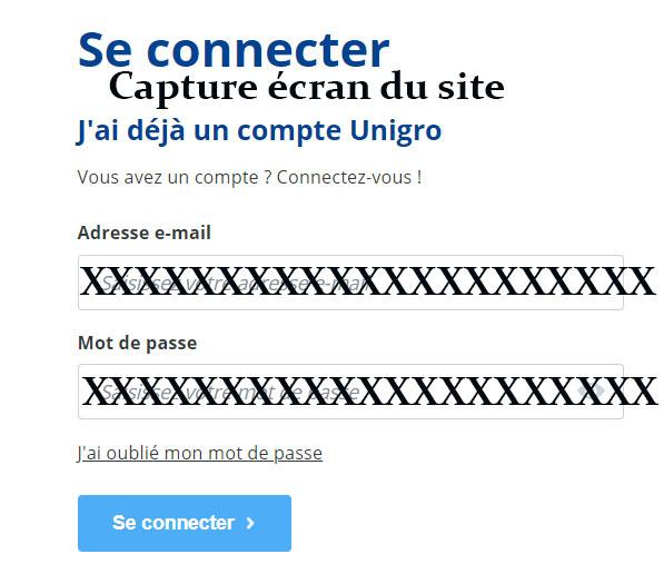 Unigro connexion