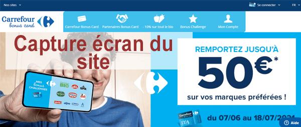 Inscription au programme de fidélité Carrefour Bonus Card : Créer mon compte et activer ma carte en ligne